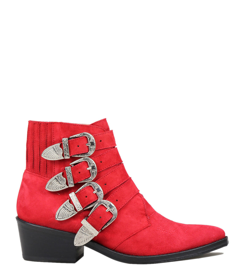 Boots à boucles Toga Pulla AJ006 Red Suede