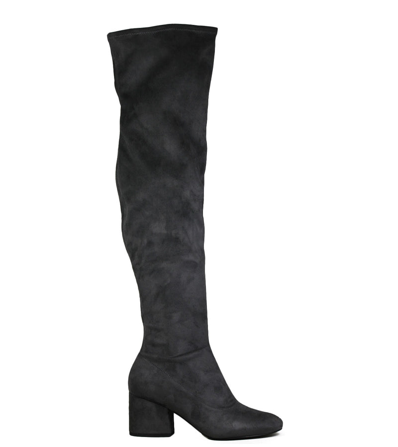 Cuissardes grises Kendall + Kylie Sophia Fine Suede Dark Gray