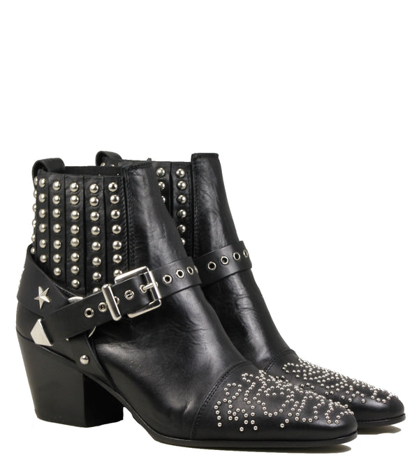 Mexicana Gaia Black Leather Studded Boots