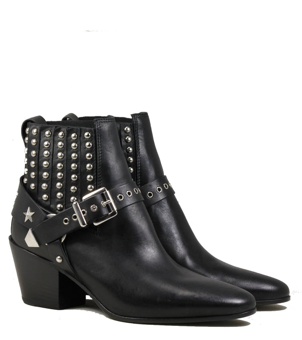 Mexicana Leto Black Leather Studded Boots