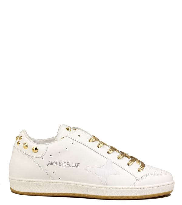 Sneakers blanches à clous Ama Brand A660 White Gold Studs