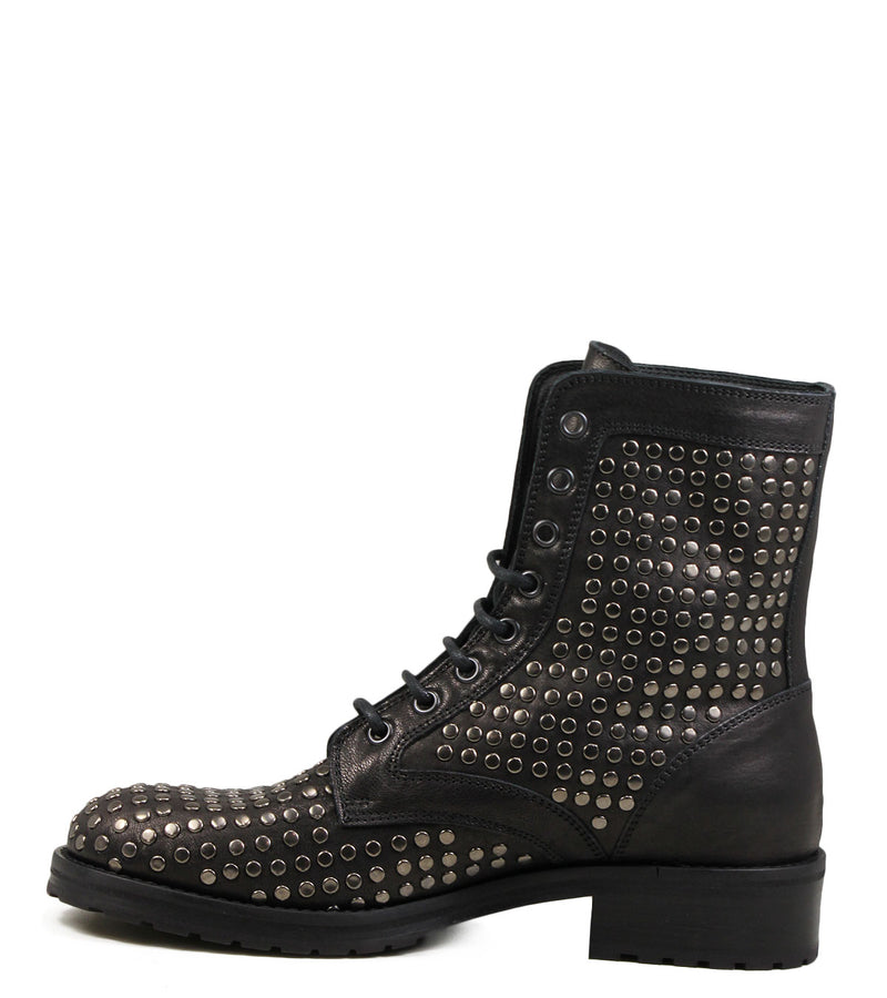 Boots cloutées à lacets Lemare 1515 Black Leather