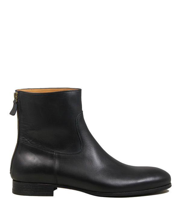 Boots en cuir noir Anthology Paris 7061 Wash Noir