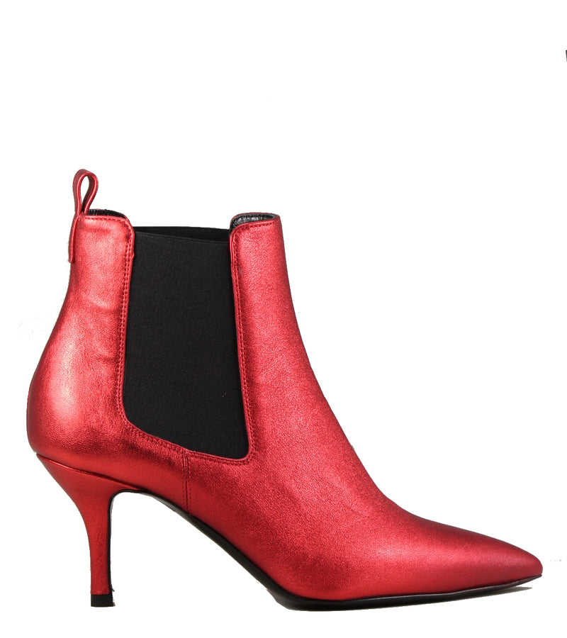 Boots en cuir rouge Viozzi 615 Metallic Red