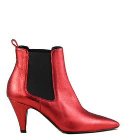 Boots en cuir rouge Viozzi 615S Metallic Red