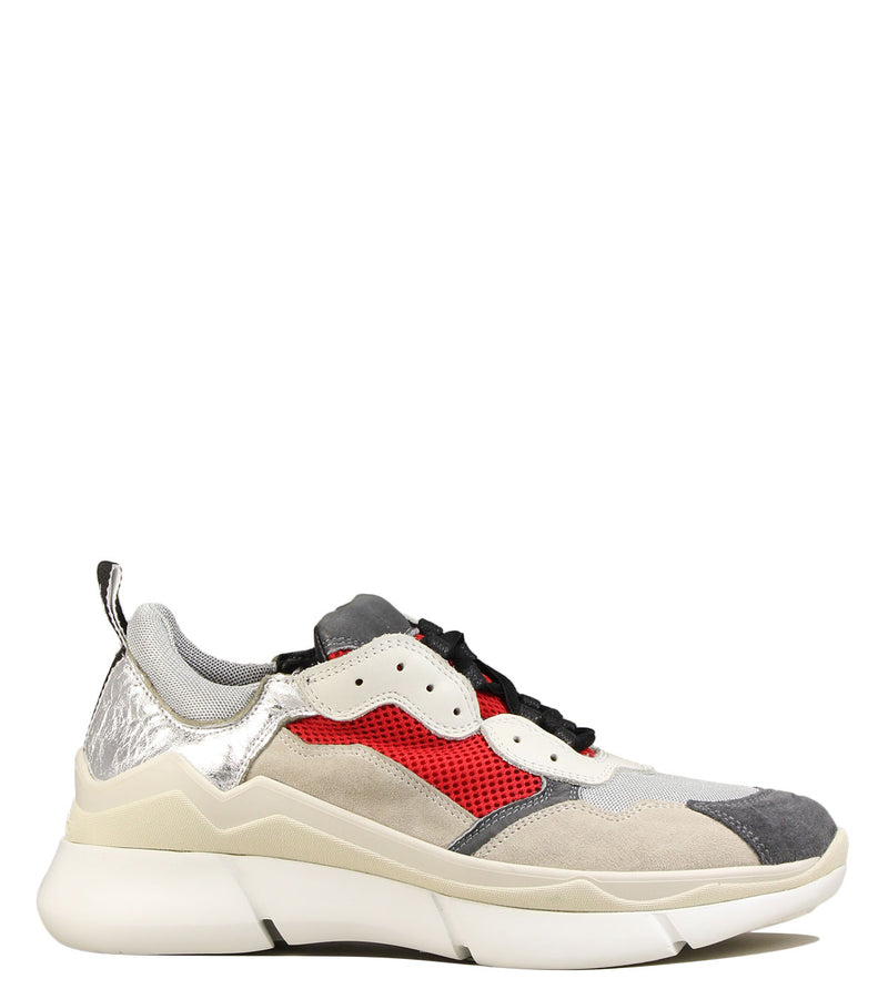 Sneakers forme running Elena Iachi E1820 Red SIlver