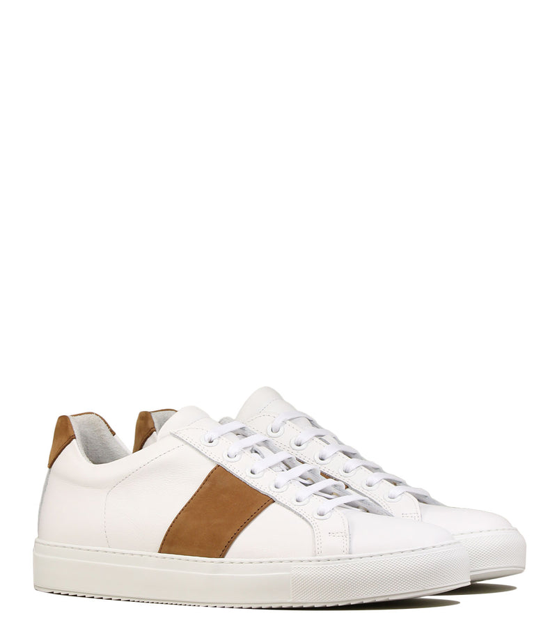 Sneakers en cuir blanc National Standard Edition 4 Cognac Band