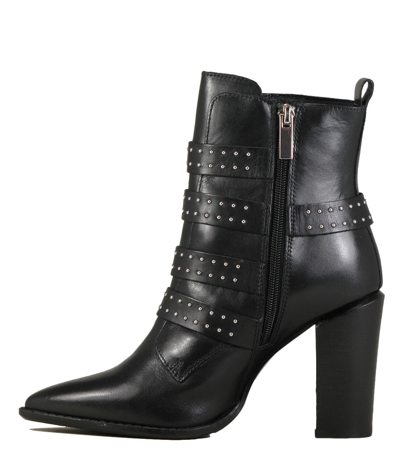 Boots rock avec sangles et clous Bronx Americana x Black Leather