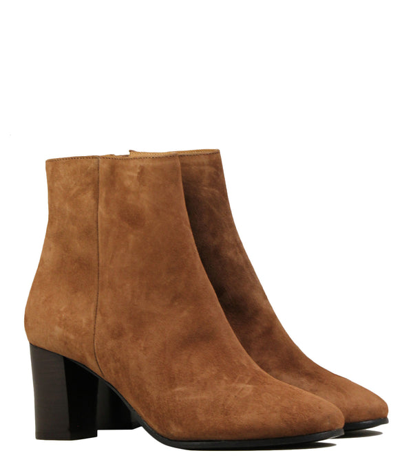 Bottines en cuir noir Rivecour 241 Chèvre Velours Noisette