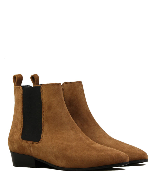 Bottines à petit talon Rivecour 66 Veau Velours Noisette