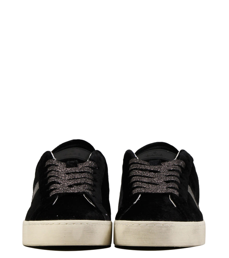 Sneakers en velvet noir D.A.T.E Hill Low Velvet Black