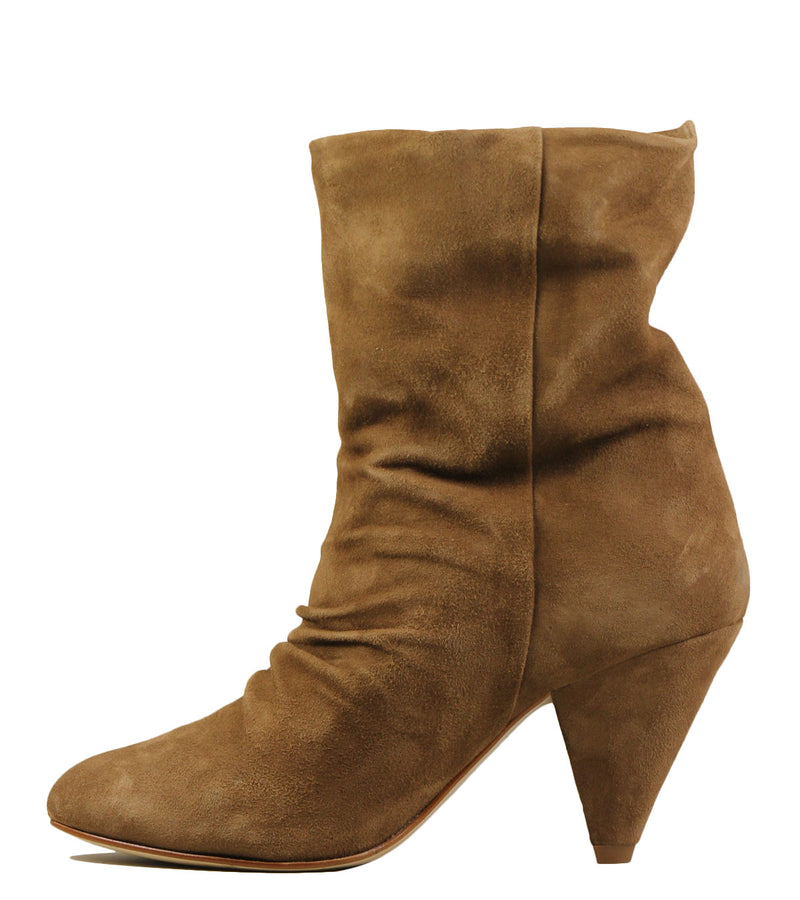 Boots en cuir velours naturel Coralie Masson Lydie Plissé Dater