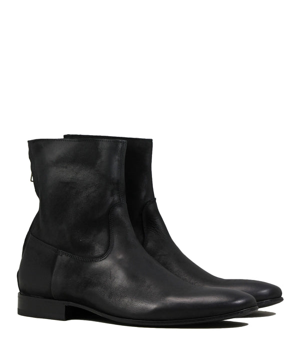 Boots en cuir noir Pete Sorensen Mac Gill Black Greased