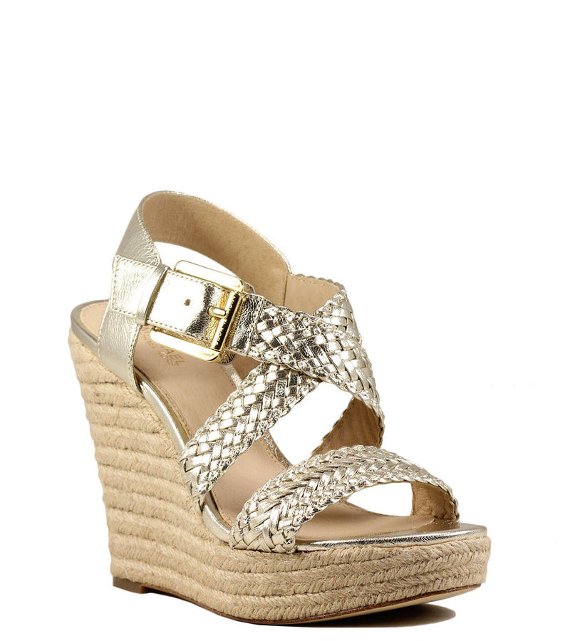 Sandales compensées Michael Kors Giovanna Woven Wedge Gold