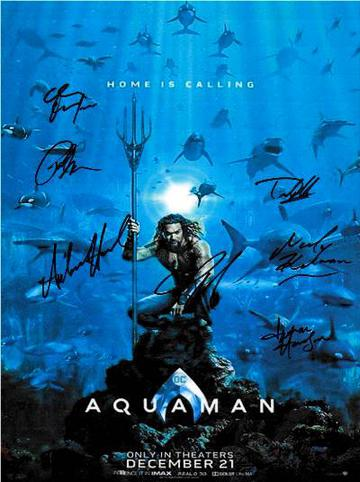 Aquaman Autographed Movie Poster