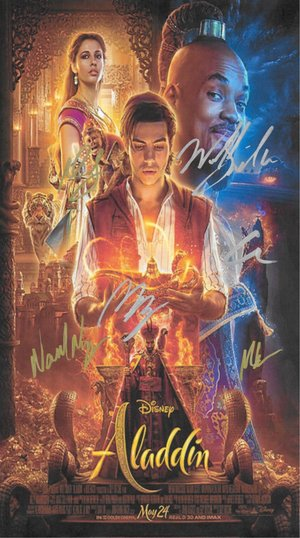 Aladdin Hand Signed Movie Poster