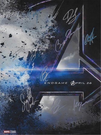 Avengers Endgame Hand Signed Movie Poster
