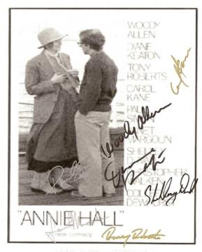 Annie Hall Hand Signed Movie Poster