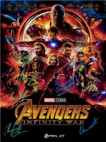 Avengers Infinity Wars Autographed Movie Poster