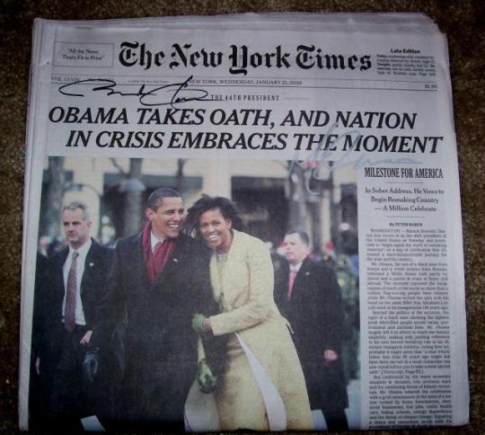 Barack Obama and Michelle Hand Signed Newspaper