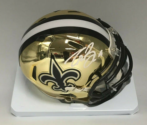 Drew Brees New Orleans Saints Chrome Hand Signed Mini Helmet