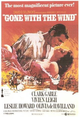 Gone with the Wind Clark Gable Hand Signed Movie Poster