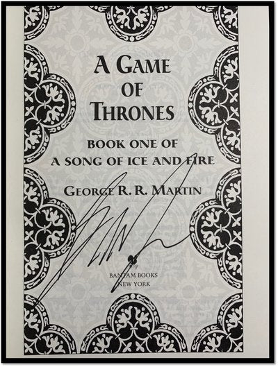 George R.R. Martin Hand Signed A Game of Thrones Song of Ice and Fire