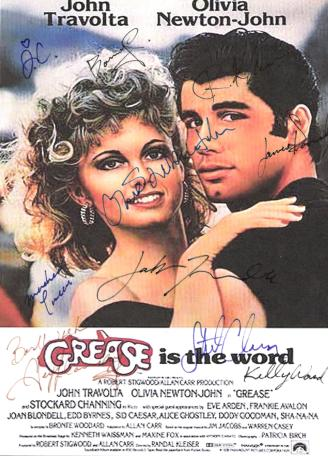 Grease Hand Signed Movie Poster