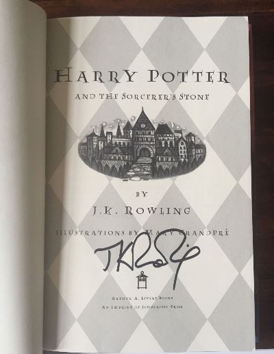 Harry Potter and the Sorcerer's Stone J. K. Rowling Autographed Book