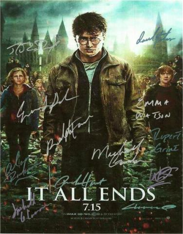 Harry Potter and the Deathly Hallow Part 2 Hand Signed Poster