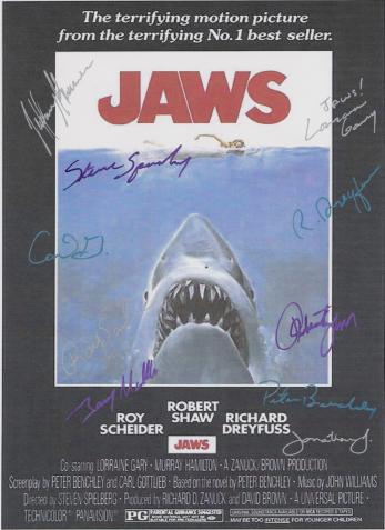 Jaws Autographed Movie Poster