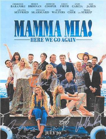 Mamma Mia 2 Here We Go Again Hand Signed Movie Poster