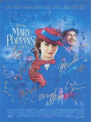 Mary Poppins Return Hand Signed Movie Poster