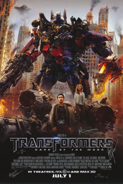 Transformers : Dark of the Moon Hand Signed Poster