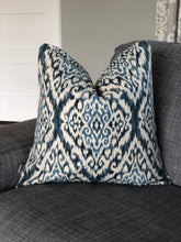 Load image into Gallery viewer, indigo ikat throw pillow
