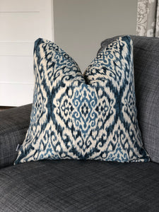 indigo ikat throw pillow