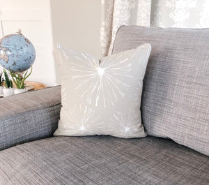 grey white throw pillow