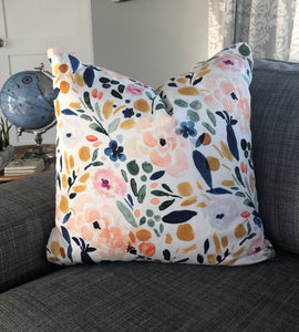 floral watercolor pillow