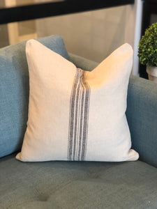 "18"" x 18"" Farmhouse Linen Striped Decorative Throw Pillow Cover"