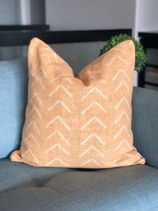 "22"" x 22"" Mustard Gold Boho Arrow Decorative Throw Pillow Cover"
