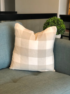 "18"" x 18"" Grey and White Check Decorative Throw Pillow Cover"