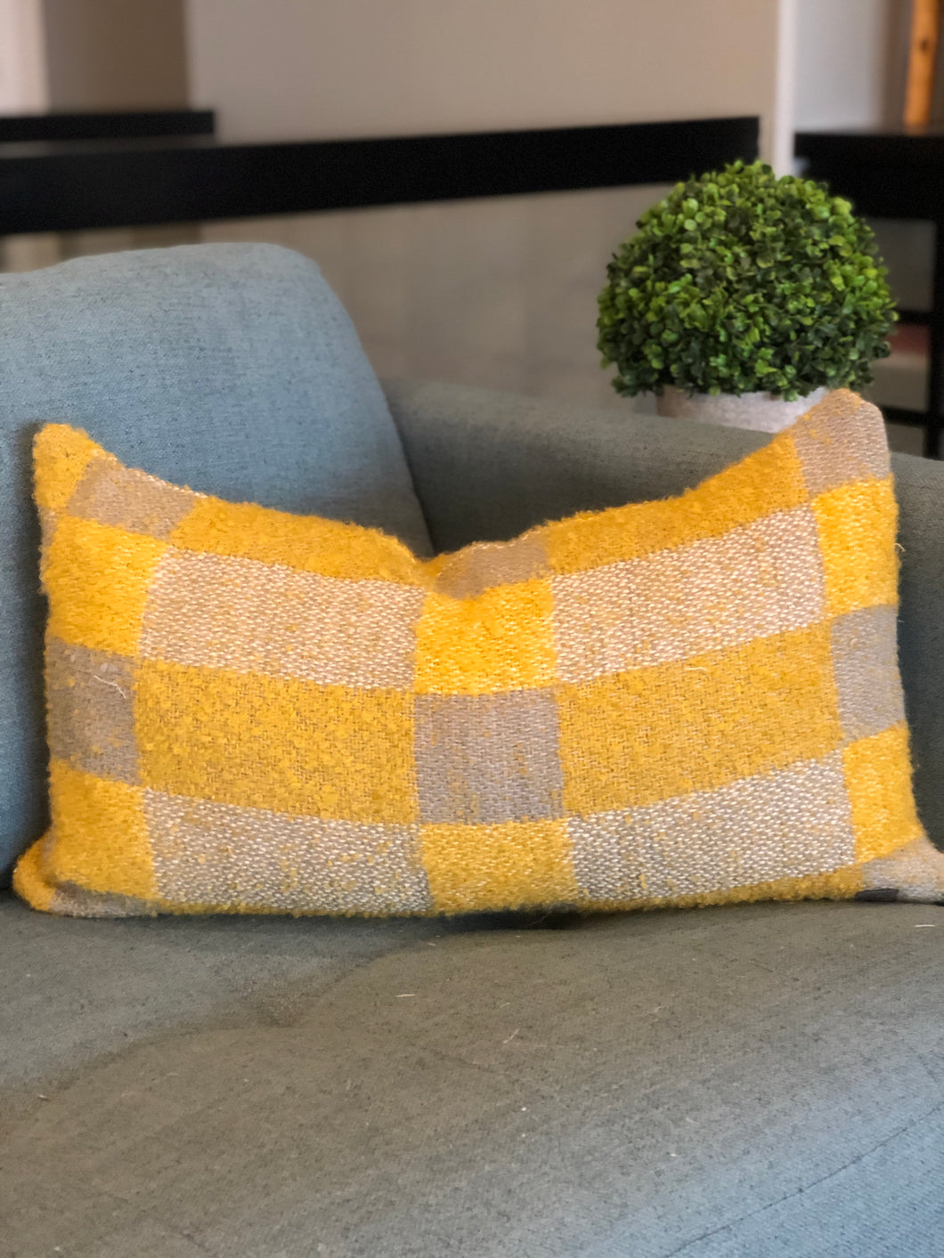 "14"" x 24"" Grey and Mustard Check Lumbar"