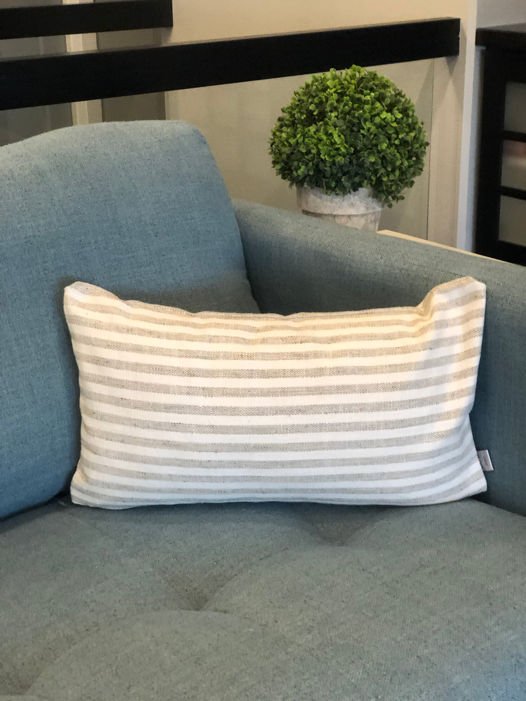 "12"" x 20"" Grey and White Striped Small Lumbar Decorative Throw Pillow Cover"
