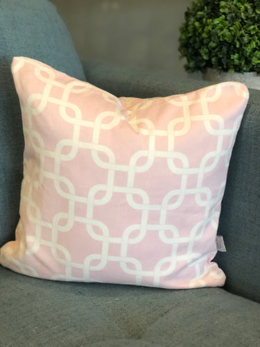 "14"" x 14"" Pink Geo Decorative Throw Pillow Cover"