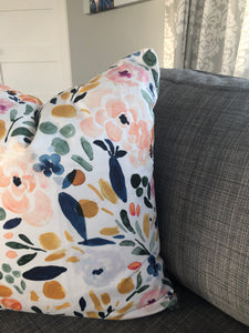 "20"" x 20"" Floral Watercolour Decorative Throw Pillow Cover"