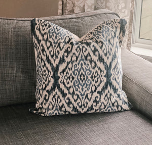 "20"" x 20"" Indigo Ikat Decorative Throw Pillow Cover"