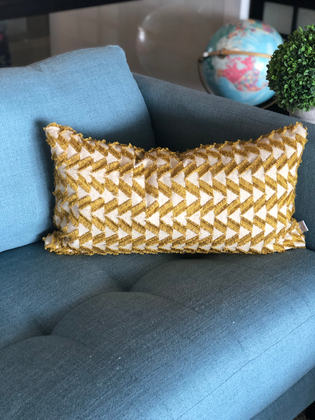 gold fringe pillow