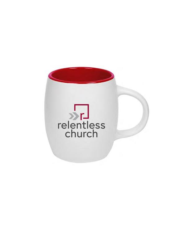 Relentless White Barrel Mug
