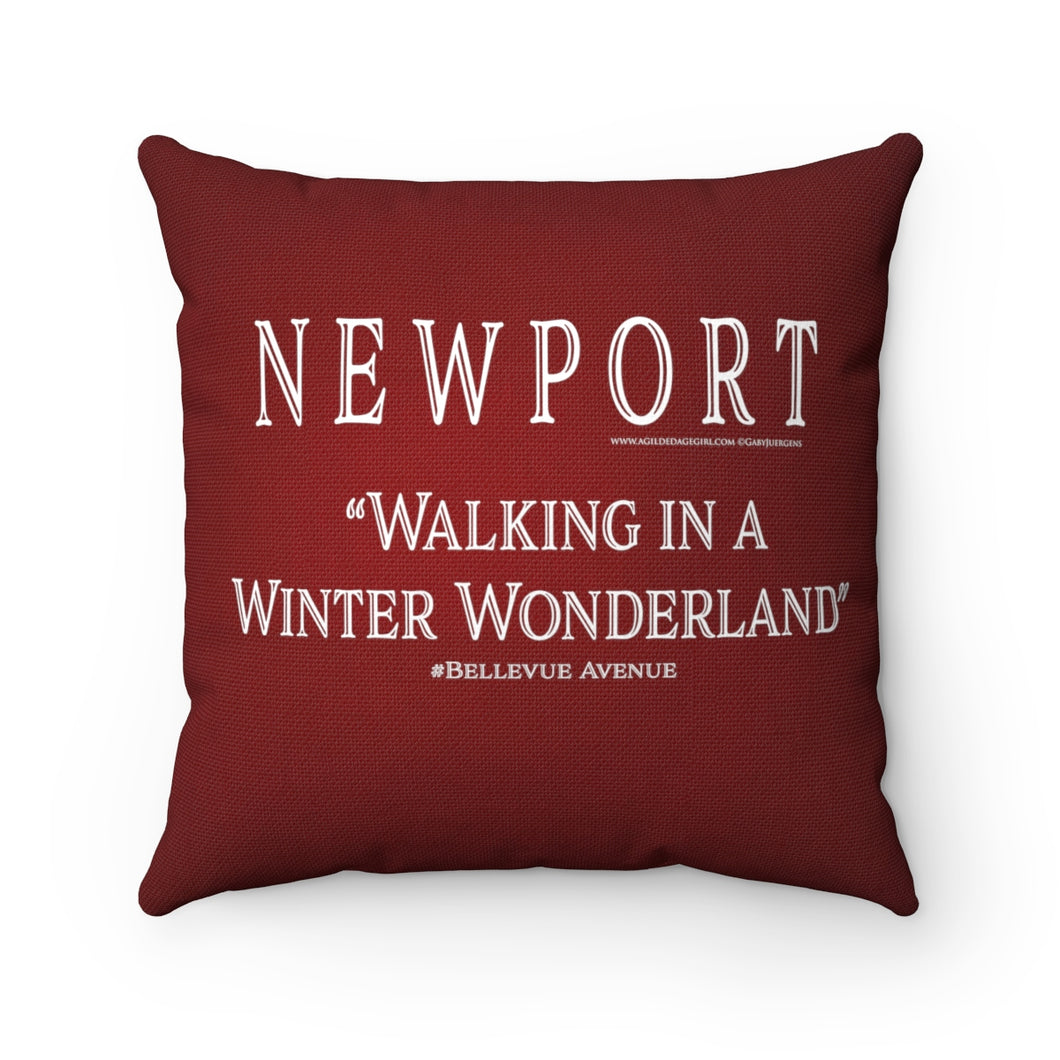 Newport Walking in a Winter Wonderland #Bellevue Ave- Christmas Red Pillow   Spun Polyester Square Pillow