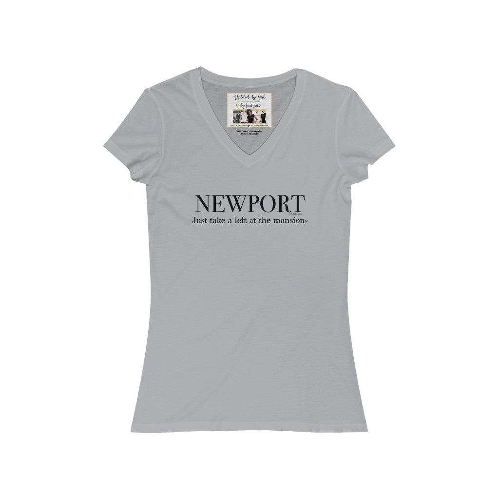 "Newport ""Just take a left at the mansion."" -Women's Jersey Short Sleeve V-Neck Tee"